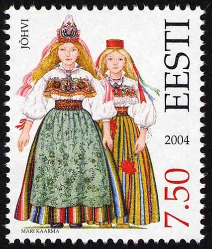 Eesti kirjamark Jõhvi rahvariietega