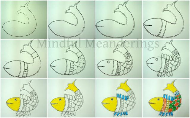 Artsy Craftsy Mom: Painting a simple Madhubani Fish in 12 steps