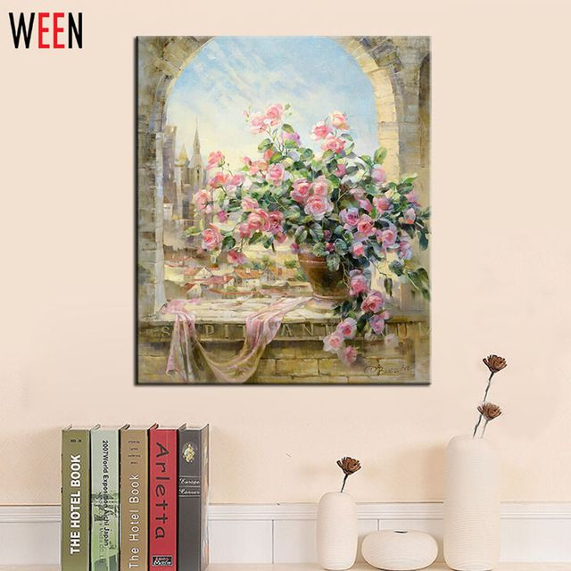 【 $7.95 & Free Shipping / Coupons 】Frameless Window Flowers Scene DIY Painting By Numbers Kits paintings for living room wall Coloring | worth buying on AliExpress