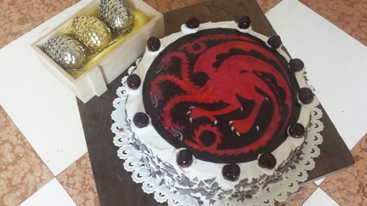 #gameofthrones inspired #blackforest cake! With #diy #dragoneggs for my bf's birthday  #gotcake