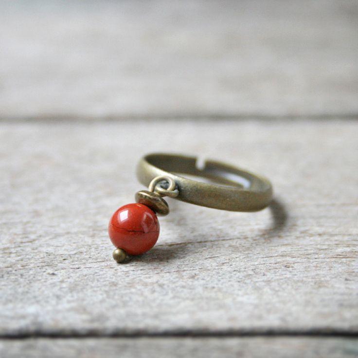 Bague Jaspe rouge, pierre fine - Bijou pierre de gemmes / semi-précieuse - Bijou minimaliste pierre naturelle : Bague par joaty