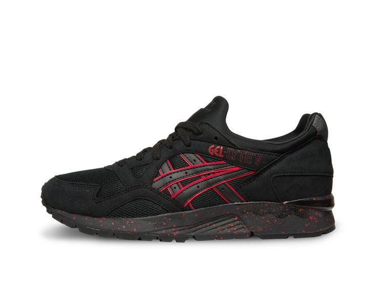 The Gel-Lyte™ V model is overlaid with a black leather and nubuck upper  construction that sits upon a clean white midsole.