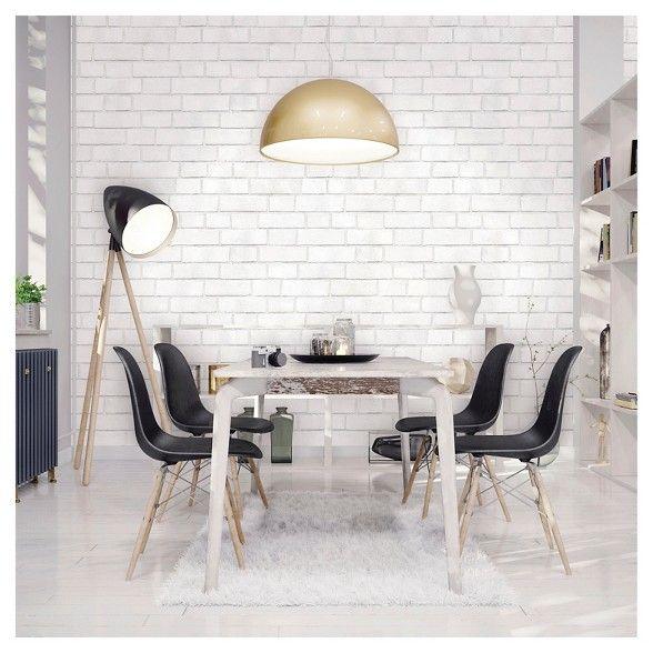 Textured Brick Peel Stick Wallpaper White Threshold White Brick Wallpaper Dining Room Design Home Decor