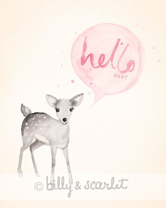 Pink Illustration Hello Watercolour Baby Deer via   classic Woodland Print  x   Chic Etsy Light Decor  Nursery Decor schaumburg Nursery cup Nursery Girl Shabby