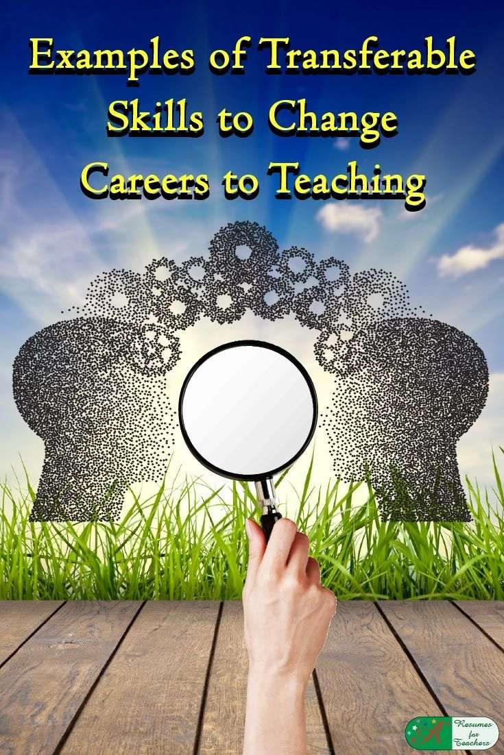 Examples of Transferable Skills to Change Careers to Teaching via @https://www.pinterest.com/candacedavies1/