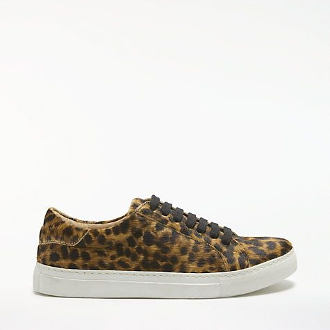 Buy John Lewis Eva Lace Up Trainers, Leopard Hair on Hide Online at johnlewis.com