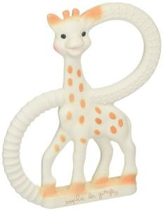 Baby Toys: Vulli So'Pure Teether, Sophie the Giraffe The first teething ring made from 100% natural rubber. Soft model for a more advanced teething period. The two rings have different textured surfaces for baby to choose from. At first glance I would not have chosen this teether as it is not bright and colorful. However once I knew what the teether was all about, it would be my first choice due to the fact that it is made of pure rubber. http://bit.ly/1t80Zud
