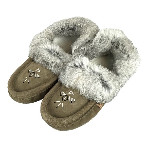 Women's Rabbit Fur Charcoal Moccasin Slippers 660
