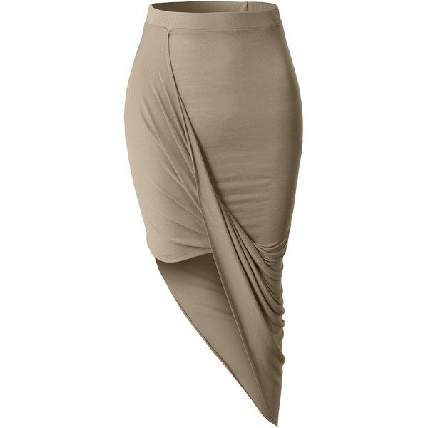 LE3NO Womens Asymmetrical Banded Waist Wrap Cut Out Hi Low Maxi Skirt ($13) ❤ liked on Polyvore featuring skirts, long brown skirt, long summer skirts, wrap skirt, long skirts and high low skirt
