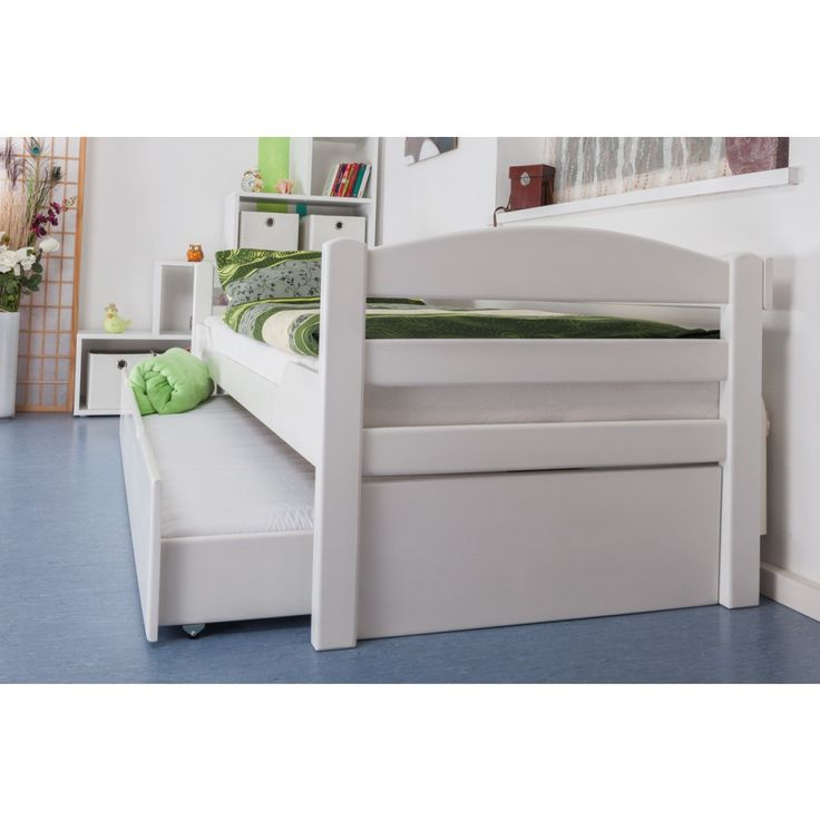 """Einzelbett / Funktionsbett """"Easy Sleep"""" K1/h/s inkl. 2. Liegeplatz und 2 Abdeckblenden, 90 x 200 cm Buche Vollholz massiv weiß lackiert"""