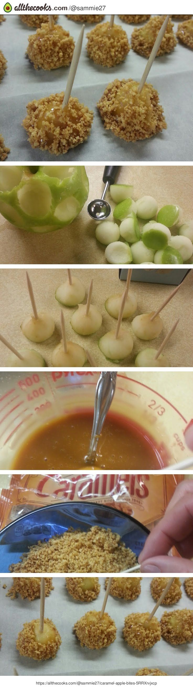 Caramel Apple Bites - would be a great idea for a party or something!  Gonna try them for my 16th birthday party!