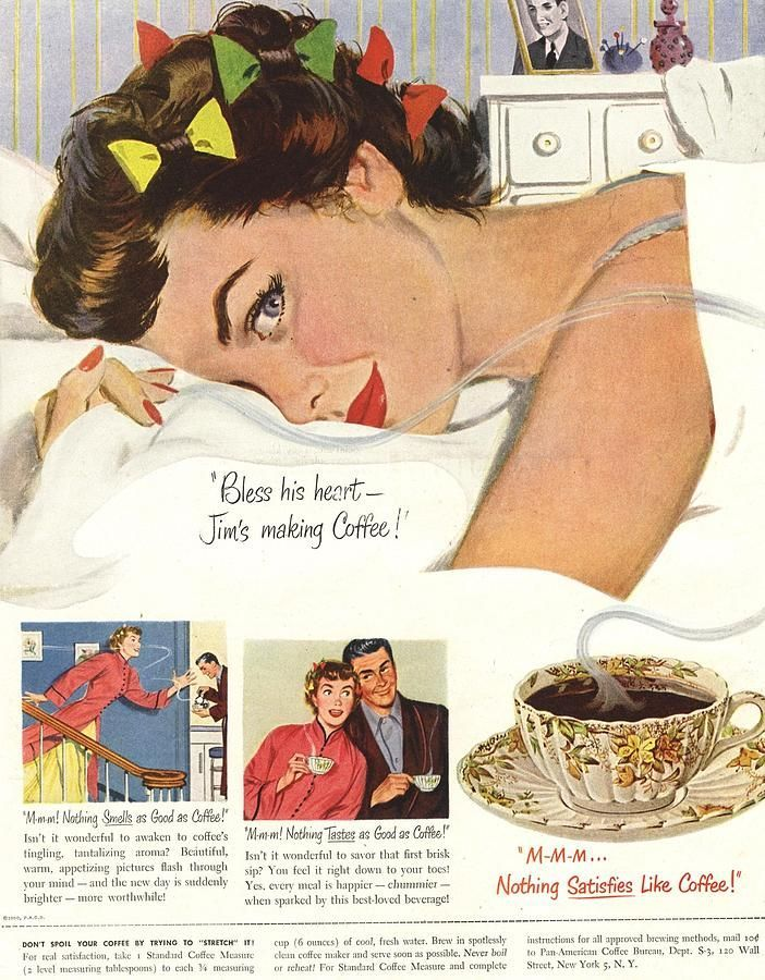 1950s Usa Sleep Sleeping Coffee Smell By The Advertising Archives Old Advertisements Retro Advertising Retro Ads