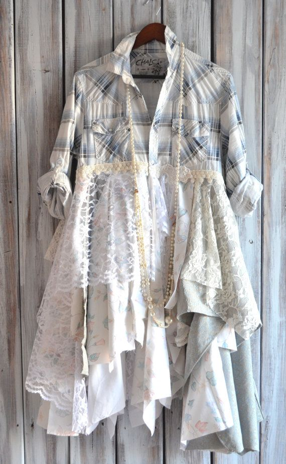 Romantic fall flannel jacket Pretty Country by TrueRebelClothing