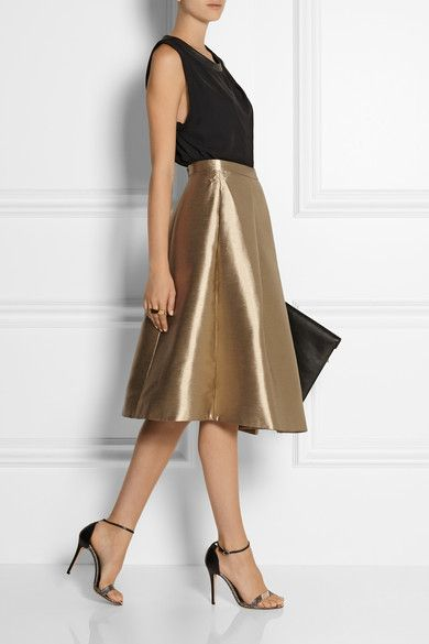 Pale-gold taffeta Concealed hook and zip fastenings at back 73% polyester, 19% cotton, 8% silk; lining: 100% acetate Dry clean