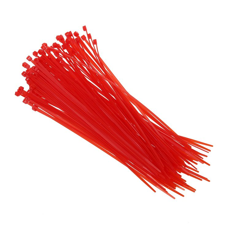 100pcs/set 3 mm x 200 mm Red patch clamp stop cable wire tie