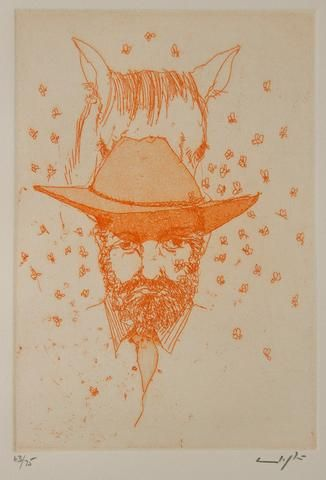 Clifton Pugh 'The Drover' - Etching