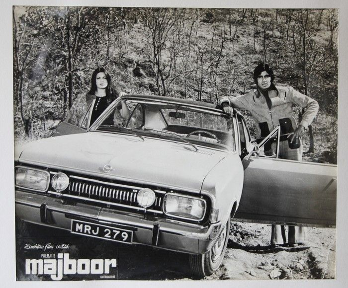 Coming straight from the Bollywood collection on transportation is the poster of the movie 'Majboor' featuring Amitabh Bachchan and Parveen Babi along with the stunning vintage car Opel Rekord!