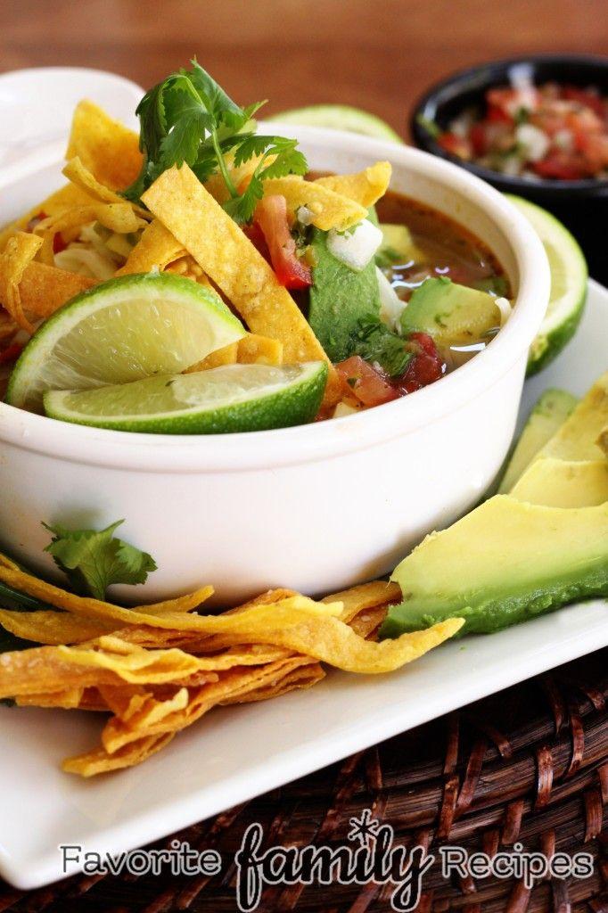 copycat recipe of Cafe Rio's Chicken Tortilla Soup from FavFamilyRecipes.com