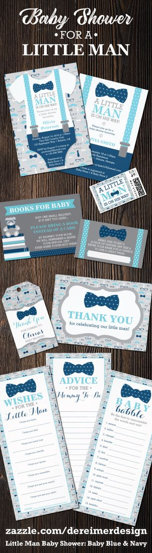 Little Man Baby Shower Collection in Baby Blue and Navy Blue, Bow Tie, Mustache, Oh Boy Baby Shower