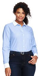 Lands' End Women's Plus Size Long Sleeve Oxford Shirt-Warm Sienna