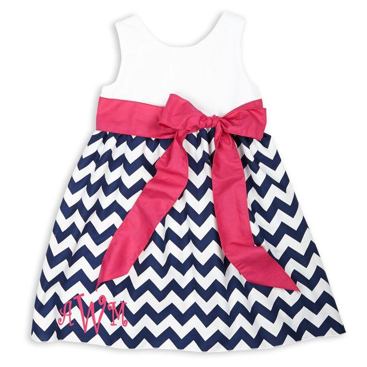 White seersucker navy chevron hot pink sash dress products