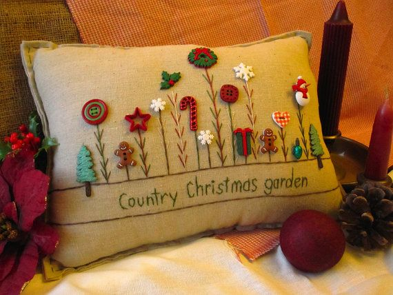 Country Christmas Garden Pillow Red Cottage Style