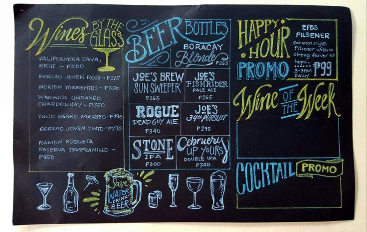 Chalkboard typography  Menu board inspiration for drinks menu at a local Bistro  For commissions, contact @CreativeCuriosities on Instagram