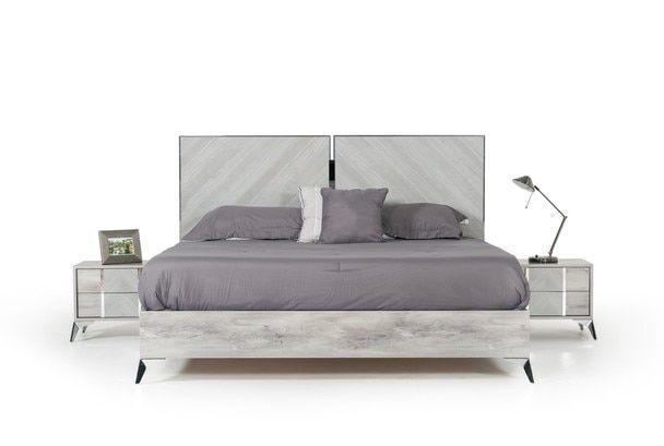 Nova Domus Alexa Italian Modern Grey King Size Bed Modern Grey