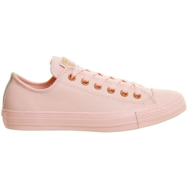 All Star Low Top Leather Trainers by Converse ($81) ❤ liked on Polyvore featuring shoes, sneakers, pink, low top sneakers, low top shoes, pink sneakers, pink shoes and leather sneakers