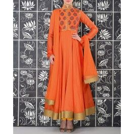 Orange Anarkali Suit with Printed Jacket