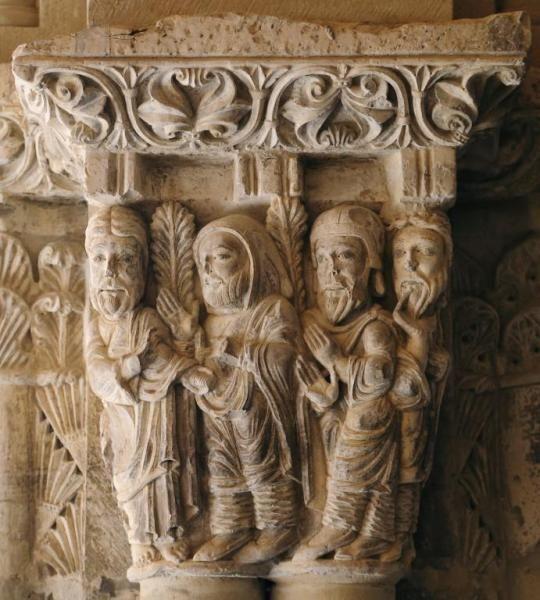 Capitel del Claustro de la Catedral de Tudela - Pago de las treinta monedas a Judas