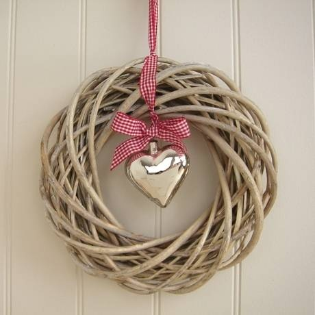 Willow wreath & glass heart only with babysbreath heart wreath not willow