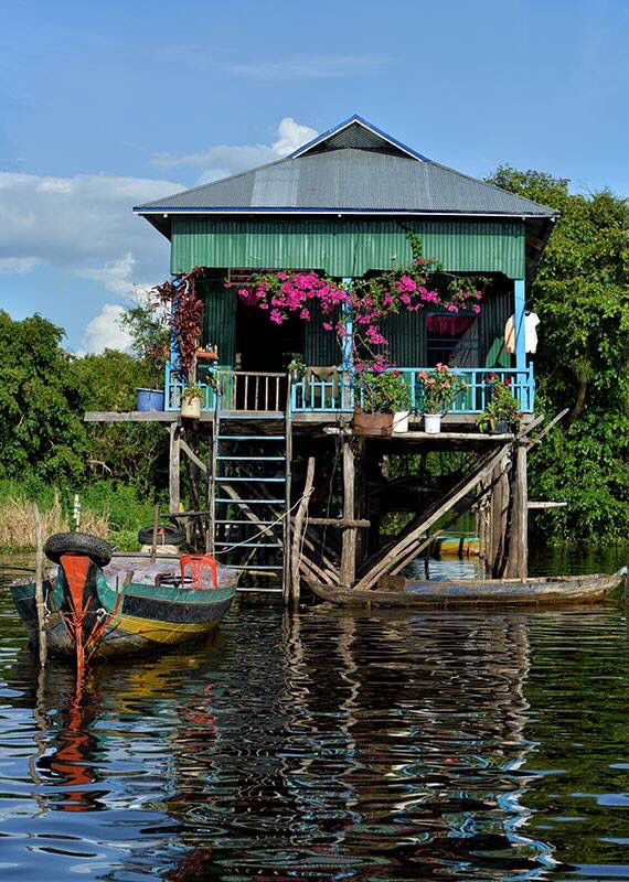 Pretty climbing plants add extra colour to a house built over the Tonle Sap Lake, Cambodia