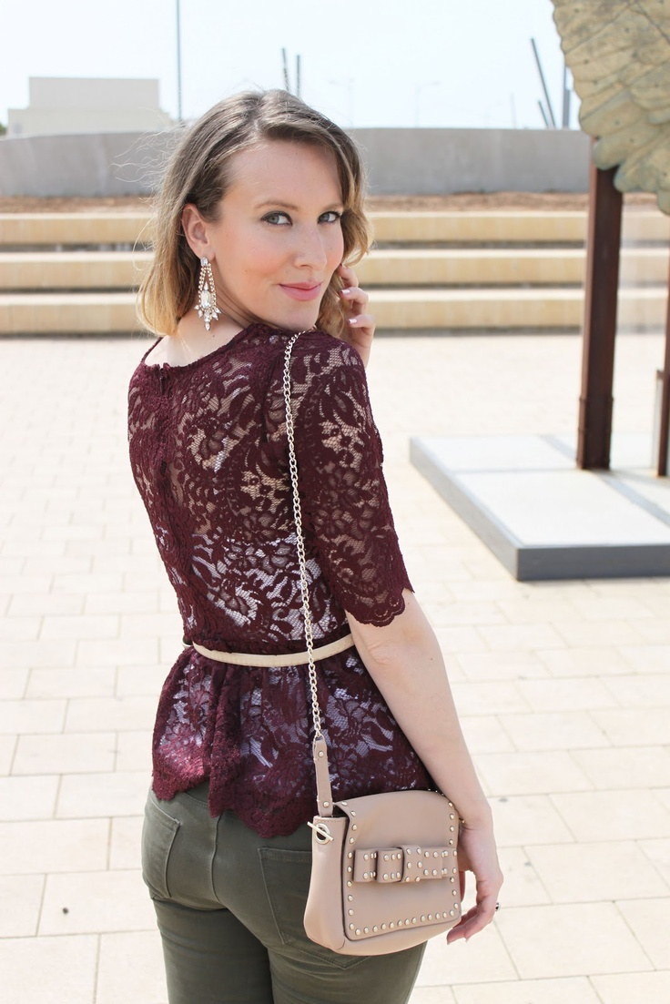Oxblood bordeaux peplum lace top, olive jeans, leopard pumps, studded bow bag, sparkly statement earrings
