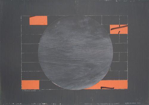 Aurelio Ayela El gigante de la luna. 2011 Acrílico y collage/papel. 30 x 42 cm. VIA MORE