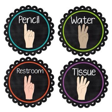 Have students SHOW you what they need using hand signals. Easy way to eliminate unnecessary interruptions & improve classroom management.