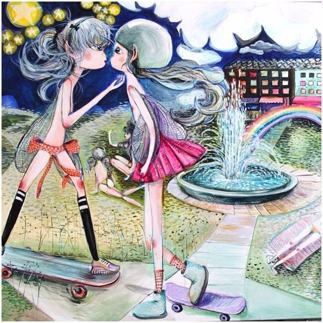 """I have rainbow in my heart"" / 100x100 / acrylic on canvas"
