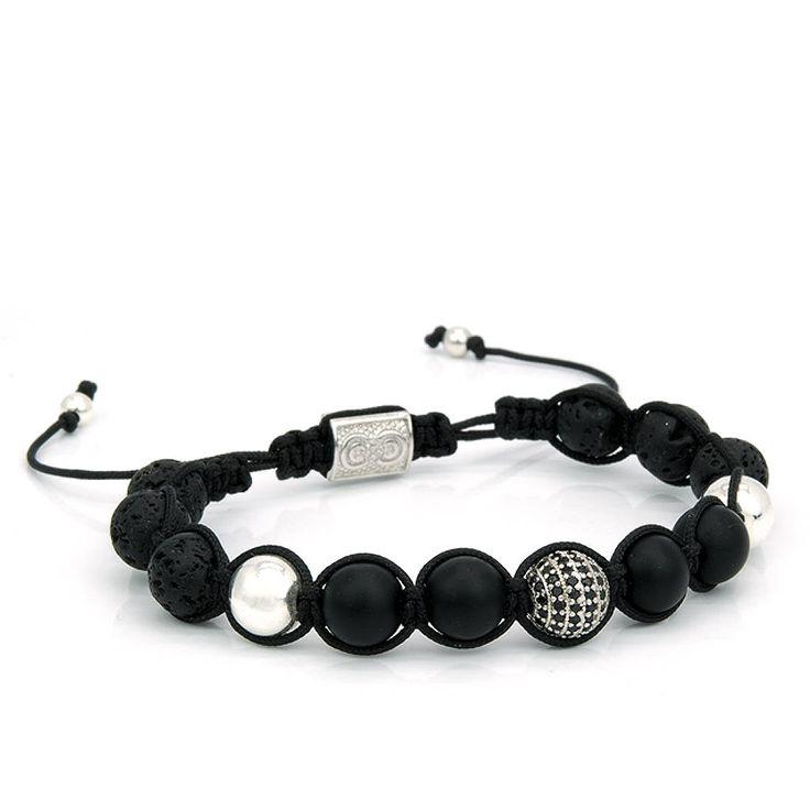 NOIR | Mens Shamballa Bracelet, Handcrafted, 925 Sterling Silver, Mens Bracelet, Mens Jewelry, Gift for Men, Anniversary Gift,