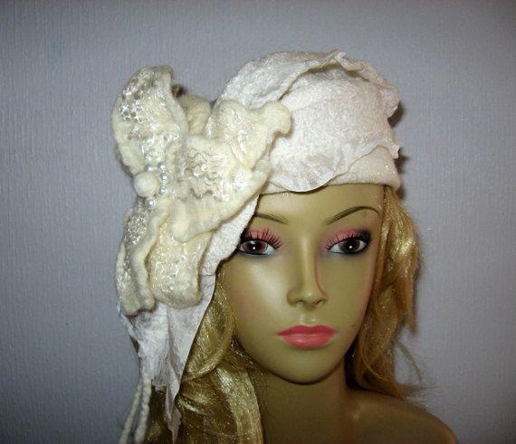 Black Orchid FELTED WINTER Headband, Womens Black Polka Dot Wool Head ...