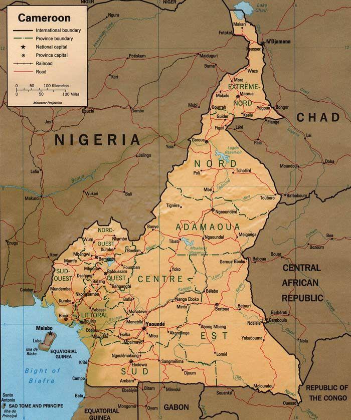 Carte du Cameroun et ses rgions 140