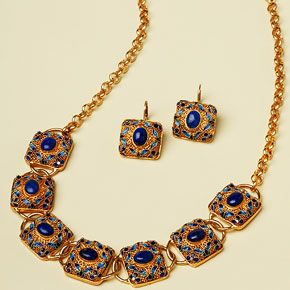 Filigree Lapis Necklace/Earrings--Taste of the Forbidden. This exquisite Filigree Lapis Jewelry showcases the timeless appeal of lapis and the ancient art of filigree. Adapted from the Ming dynasty jewelry collection housed in Beijing, China, bezel-set lapis cabochons (6x8mm for the necklace and earrings) center handcrafted filigree enamelwork settings.