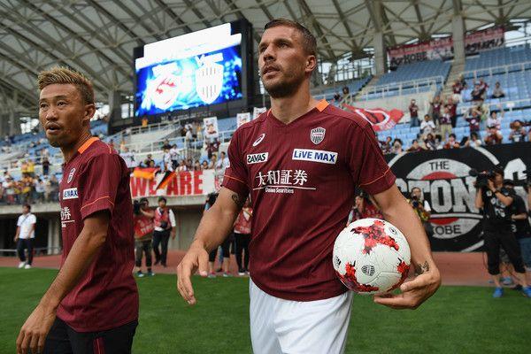 Lukas Podolski of Vissel Kobe walks into the pitch prior to the preseason friendly match between Vegalta Sendai and Vissel Kobe at Yurtec Stadium Sendai on July 22, 2017 in Sendai, Miyagi, Japan.