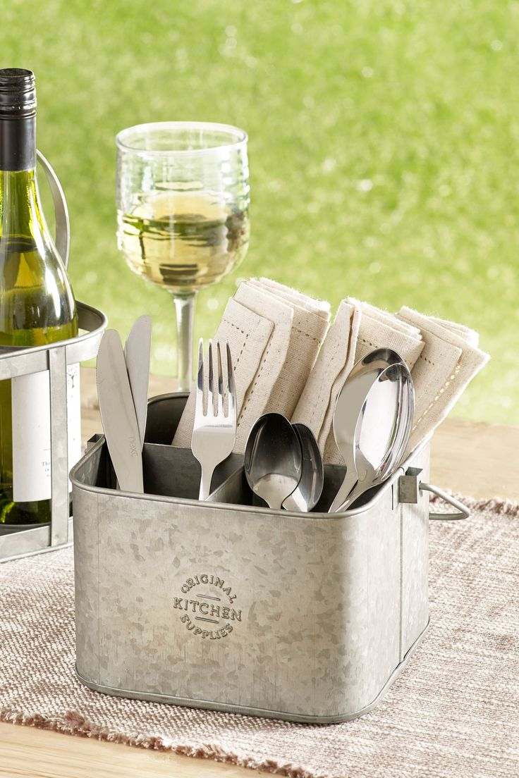 Next Galvanized Metal Cutlery Caddy Silver in 2020