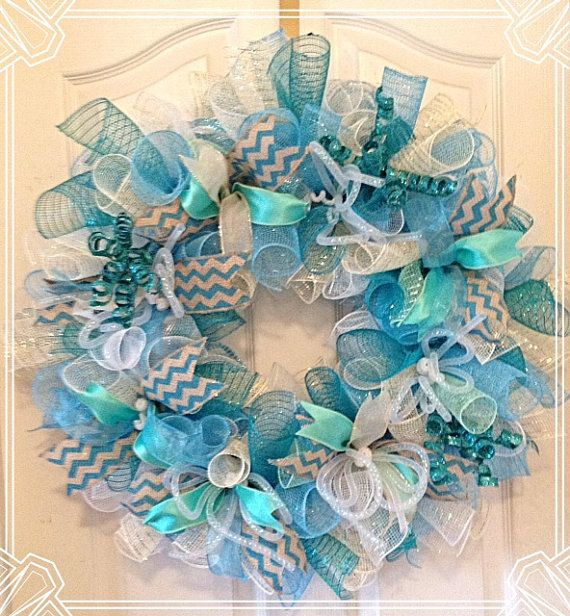 Turquoise, White and Cream Deco Mesh Wreath/ Summer Turquoise Deco Mesh Wreath