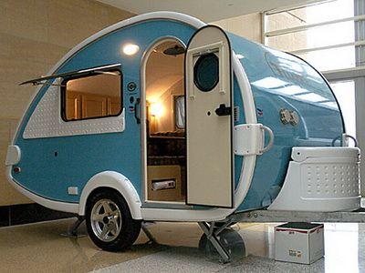 Scamp travel trailer.