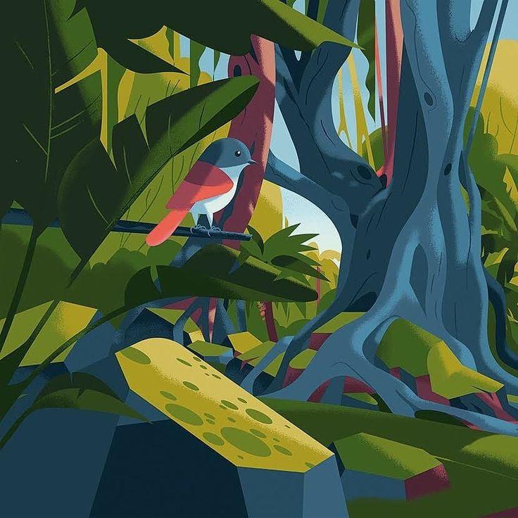 - 166a2063a83b177a2be7c717c65a70be - Little bird illustration by Marie-laure Cruschi . . . #bird #birds #animals #illustration #art #artist #jungle #amazon #…