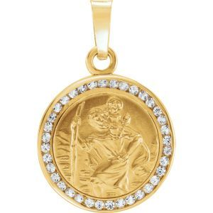 652597 / Set / 14K Yellow / Polished / St. Christopher Medal with Lab-Grown White Sapphires