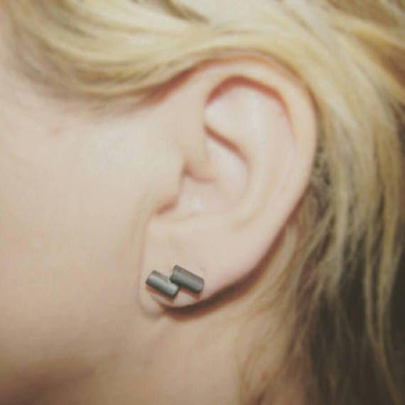 Tubes. oxidized post earrings  oxidized silver studs dainty