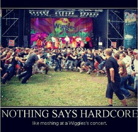 Nothing says hardcore like moshing at a wiggles concert xD