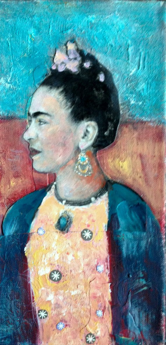 Frida Kahlo original painting vintage textured  by MaudstarrArt